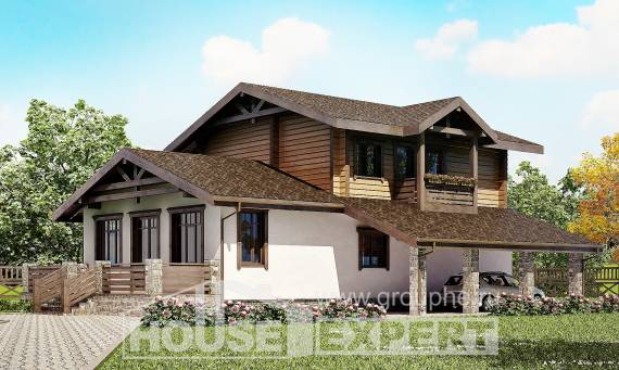 170-004-L Two Story House Plans with mansard roof with garage, modest Home Blueprints