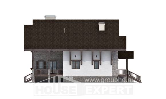 440-001-R Three Story House Plans with mansard roof with garage in front, luxury Woodhouses Plans