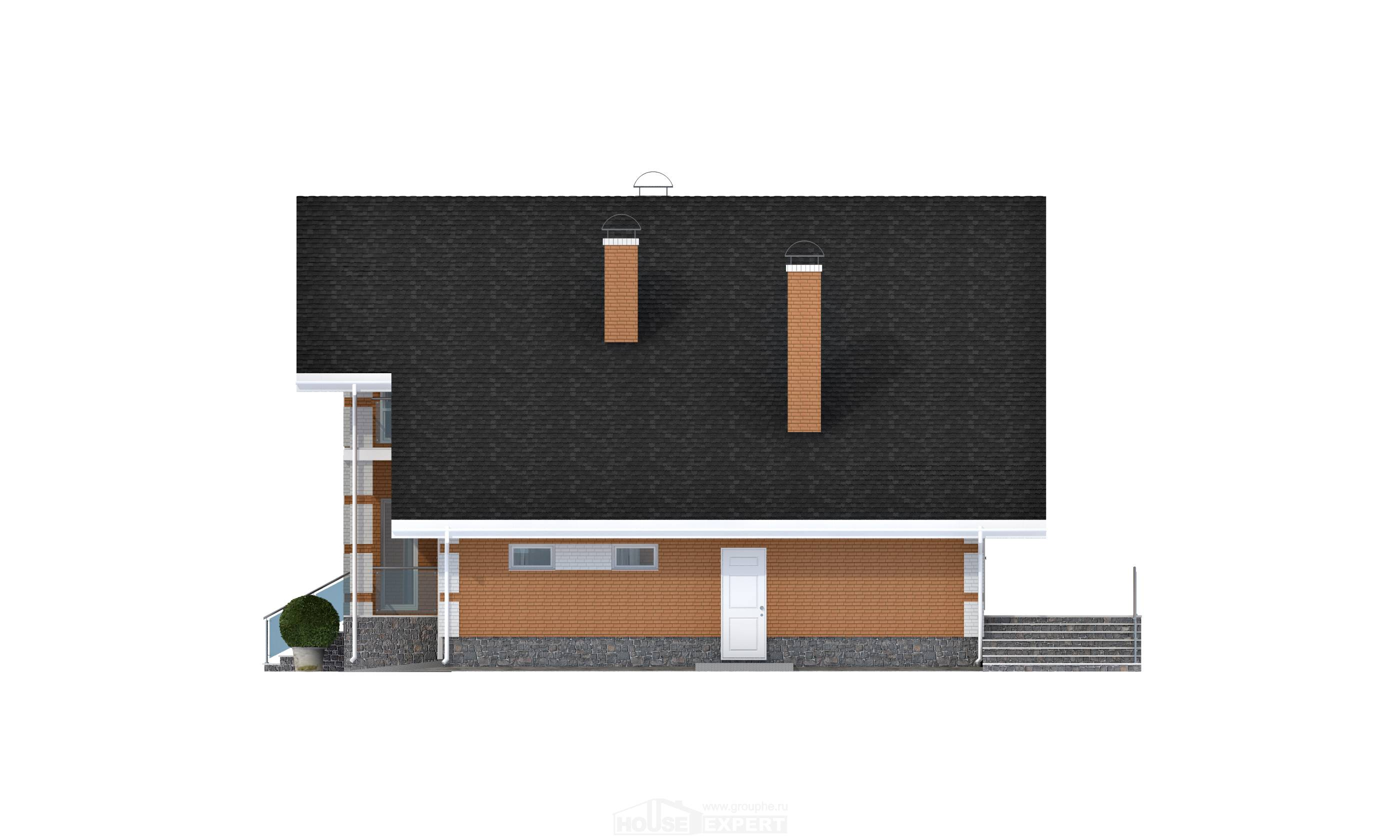 190-006-R Two Story House Plans with mansard roof and garage, modern Home Plans