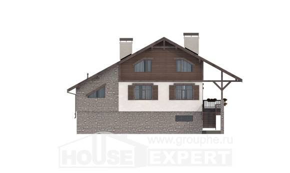 300-003-R Three Story House Plans with mansard roof and garage, a huge Villa Plan
