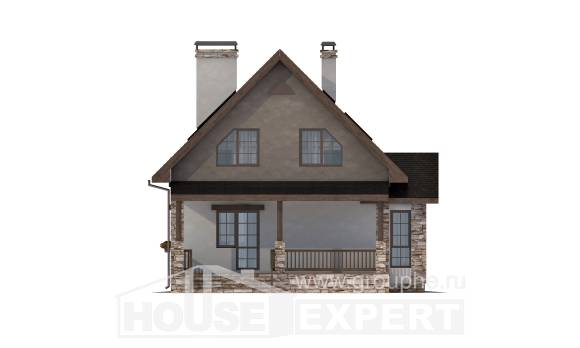 140-002-L Two Story House Plans with mansard roof, cozy Home Plans