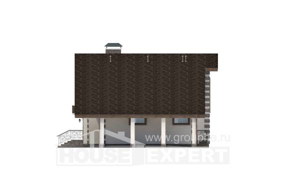 150-003-L Two Story House Plans and mansard with garage in front, compact Building Plan