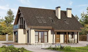 155-012-L Two Story House Plans with mansard, modest Home Plans