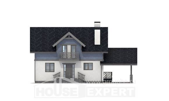 150-011-R Two Story House Plans and mansard with garage in front, modern Architectural Plans