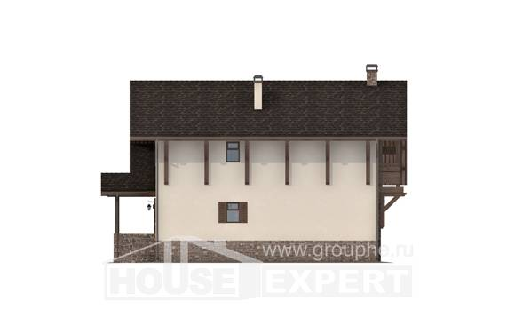 190-007-L Two Story House Plans with mansard and garage, cozy Online Floor