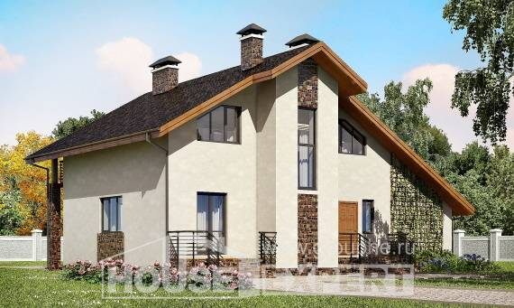 180-008-L Two Story House Plans with mansard roof with garage, cozy Tiny House Plans,