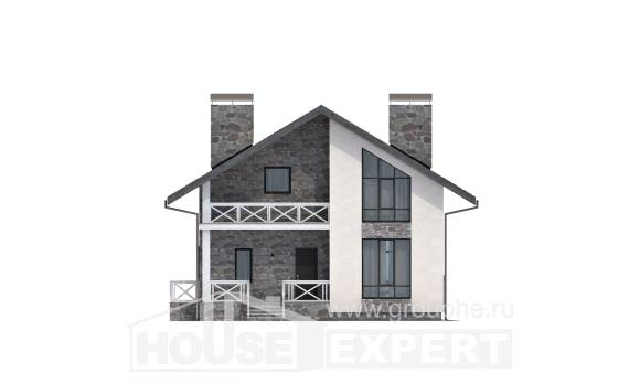 155-001-L Two Story House Plans with mansard roof with garage in back, small House Planes