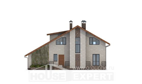 180-008-R Two Story House Plans with mansard roof and garage, beautiful Woodhouses Plans
