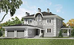 245-004-L Two Story House Plans with garage in front, modern Home Blueprints