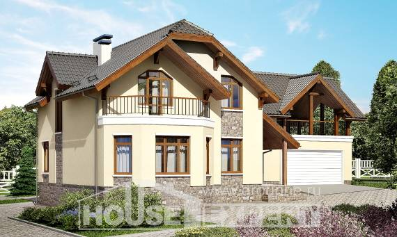 255-003-R Two Story House Plans and mansard with garage under, luxury Models Plans