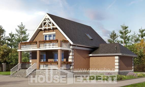 200-009-L Three Story House Plans with mansard roof with garage in front, a simple Architect Plans