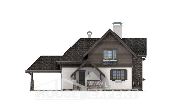 160-002-L Two Story House Plans with mansard with garage in front, inexpensive Home House