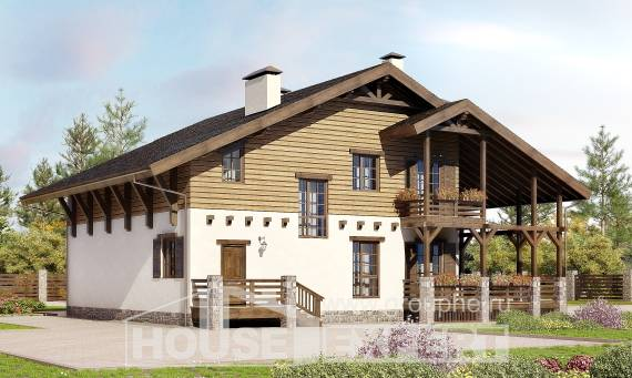 260-001-R Two Story House Plans with mansard, cozy Floor Plan