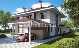 340-001-R Two Story House Plans with garage in front, modern Custom Home