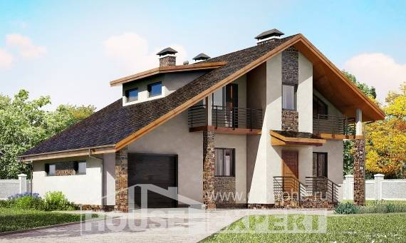 180-008-L Two Story House Plans with mansard with garage in front, a simple Ranch,