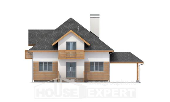 155-004-R Two Story House Plans and mansard with garage in back, cozy Floor Plan