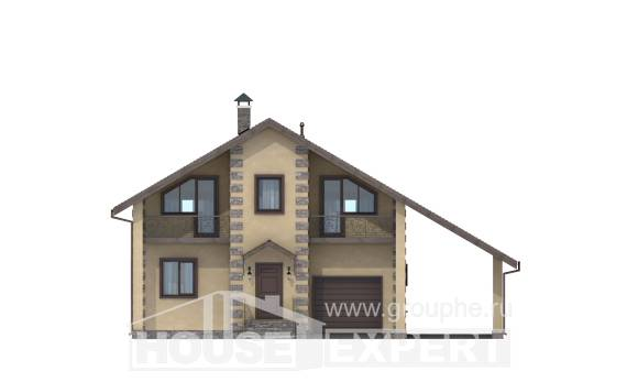 150-003-R Two Story House Plans with garage in back, compact Home House