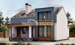 120-004-R Two Story House Plans with mansard roof, modern Home Plans