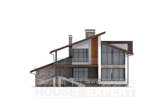 200-010-R Two Story House Plans with mansard with garage in back, cozy House Plan
