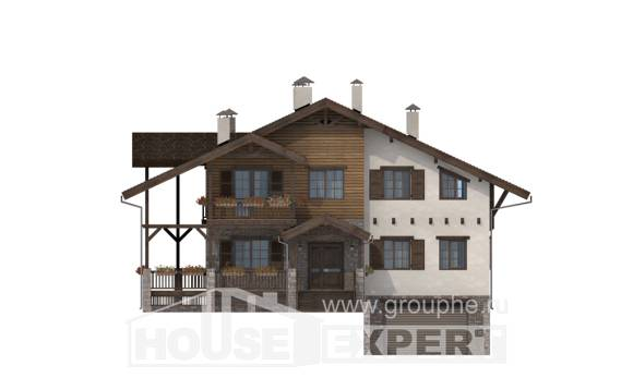 400-004-R Three Story House Plans with mansard roof with garage in back, beautiful Timber Frame Houses Plans