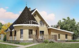 250-001-L Two Story House Plans and mansard with garage under, average Tiny House Plans