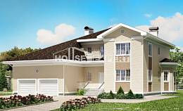 335-001-L Two Story House Plans with garage under, big Villa Plan