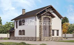 200-005-R Two Story House Plans with garage under, modern Construction Plans