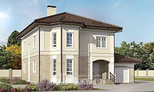 220-007-R Two Story House Plans with garage, average Design Blueprints