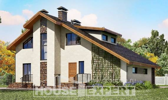 180-008-L Two Story House Plans and mansard with garage in front, beautiful Plans To Build,