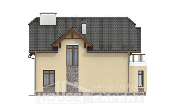 255-003-R Two Story House Plans and mansard with garage under, luxury Architectural Plans