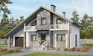 180-017-L Two Story House Plans with mansard roof with garage in front, luxury Timber Frame Houses Plans,