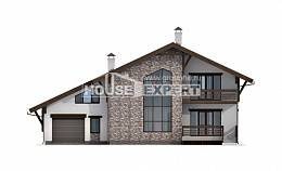 280-001-R Two Story House Plans with mansard with garage, big Models Plans