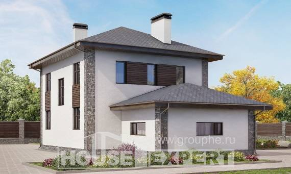 185-004-L Two Story House Plans with garage in back, modern Models Plans