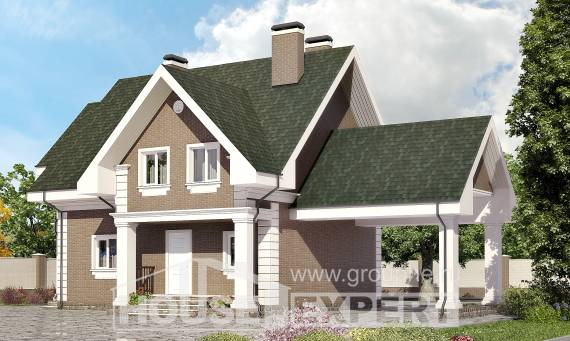 140-003-R Two Story House Plans with mansard with garage in back, the budget Cottages Plans