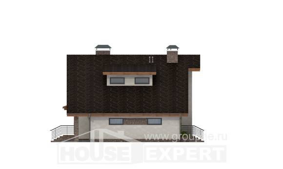180-008-R Two Story House Plans with mansard with garage in back, modern Design House