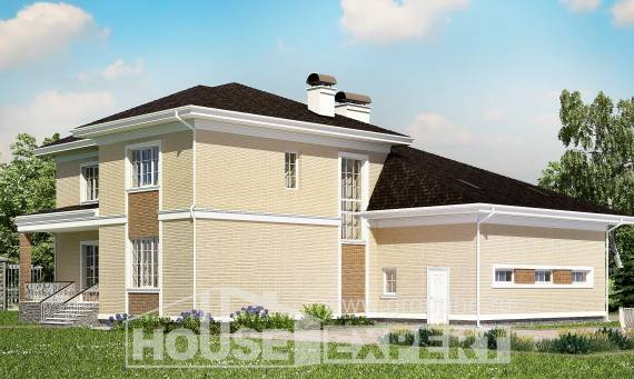 335-001-L Two Story House Plans with garage under, cozy Dream Plan