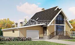 250-001-L Two Story House Plans and mansard with garage in front, beautiful Design House
