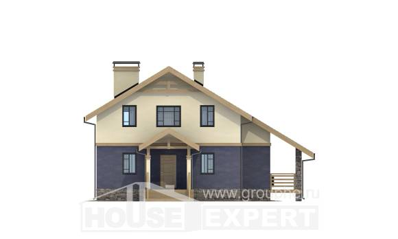 160-010-R Two Story House Plans with mansard roof, cozy Custom Home Plans Online