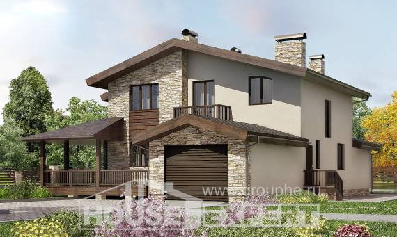 220-001-L Two Story House Plans with mansard with garage in front, a simple House Planes