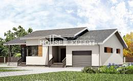 135-002-R One Story House Plans with garage under, modest Woodhouses Plans