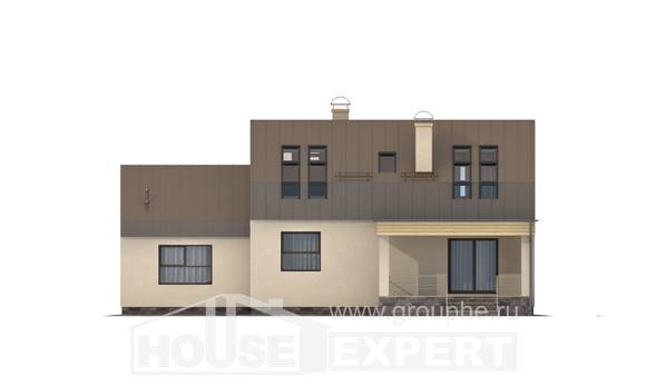 150-015-L Two Story House Plans with mansard roof with garage, a simple Models Plans