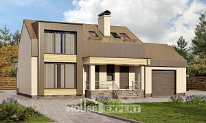 150-015-L Two Story House Plans and mansard with garage in front, modest Floor Plan