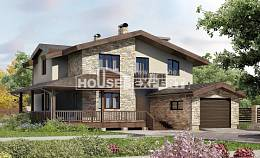 220-001-L Two Story House Plans and mansard with garage in back, cozy House Building