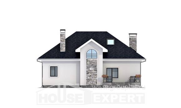 150-008-R Two Story House Plans with mansard roof, compact Ranch