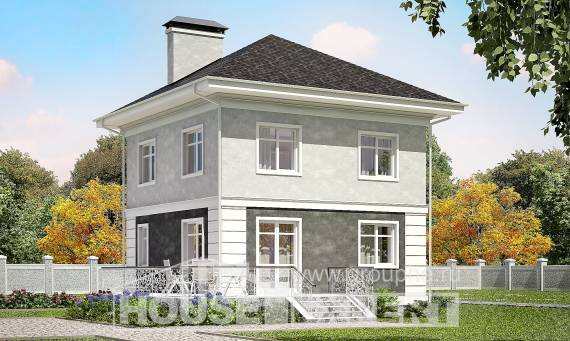 090-003-R Two Story House Plans, compact Floor Plan