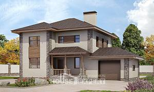 185-004-R Two Story House Plans with garage under, luxury Cottages Plans