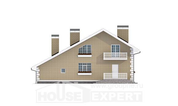 190-005-R Two Story House Plans with mansard with garage in front, spacious Dream Plan