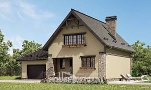 160-005-L Two Story House Plans with mansard roof with garage in front, small Construction Plans