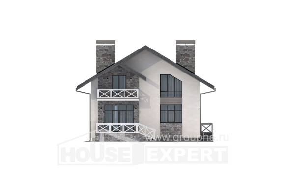 155-001-L Two Story House Plans and mansard and garage, inexpensive Cottages Plans
