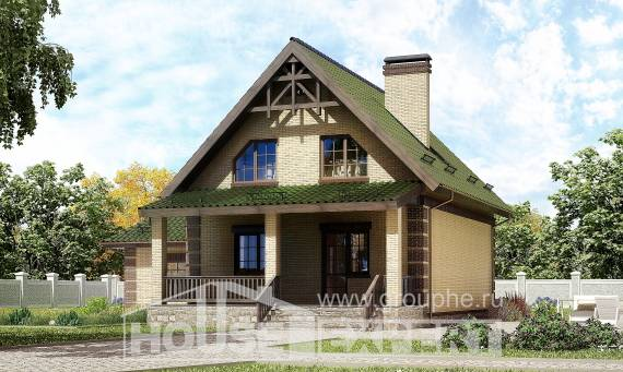 160-007-R Two Story House Plans with mansard with garage under, a simple Custom Home